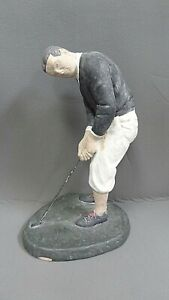 """Vintage~ 1983 Austin Products Sculpture Figurine Golfer Signed DeGroot ~13"""" Tall"""