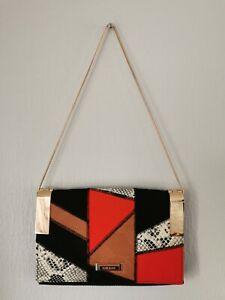 RIVER ISLAND gold snake chain strap patchwork medium shoulder envelope bag BNWOT