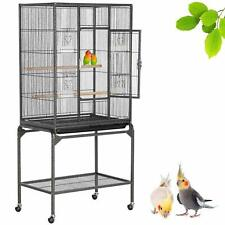 Large Bird Cage Wrought Iron Flight Metal Parrot Cockatoo Macaw Antique Vintage