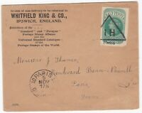 ! 190? WHITFIELD KING IPSWICH STAMP DEALERS ADVERTISING ENV HALFPENNY CUT OUT