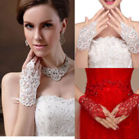 Women Lace Short Fingerless Gloves Wedding Bridal Party Accessories Goth Prom UK