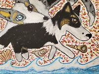 CARDIGAN WELSH CORGI on the Beach Original 9x12 Painting by Artist KSams Dog Art