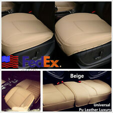 3 Pcs Front+Rear Beige PU Leather Car Seat Cushion Cover Protector Pads US Stock