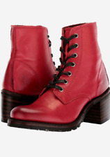 Women's Frye Sabrina 6G Lace Up Heeled Booties, Burnt Red, US 8, MSRP $398.00