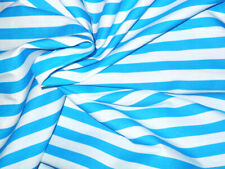 Turquoise & White Striped Fabric Material POLY COTTON Crafts Quilting Sewing 1M