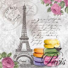 4 Solo Papel Decoupage Servilletas. PARIS, Torre Eiffel, Correo Aéreo, galletas - 181