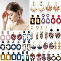 Fashion Bohemia Acrylic Acetate Leopard Hoop Dangle Stud Earrings Women Jewelry