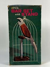 Vintage bird bar set with stand rosewood handle knife and corkscrew in box comp.