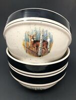 Folk Craft Stoneware Set of 3 Cereal or Soup Bowls White Tail Deer by Scottyz
