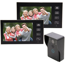 "Wireless 7"" Color Video Door Phone Doorbell Home Intercom IR Camera 2 Monitors"