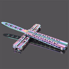 Rainbow Practice Balisong Metal Butterfly Steel Trainer Dull Knife with Sheath