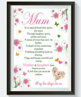 Personalised Poem Mother's Day Gifts Birthday Mum Daughter Print A4 Gift