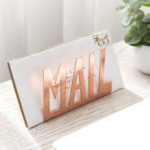 Mail Cutout Design Desktop Rose Gold Metal Mail Sorter Letter Organizer Holder