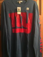 NWT New York Giants Mens L Blue Long Sleeve Shirt Junk Food NFL Football NY