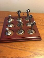 """Golfing Golfer Tic Tac Toe Board with Pewter Golf Themed Pcs 5 1/2""""sq"""