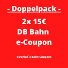 Doppelpack | 2x15€  E-Coupon | DB Deutsche Bahn Gutschein | Schneller Zustellung