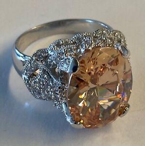 Beautiful ESPO Joseph Esposito Sterling Silver Peach Clear CZ Sweetheart Ring