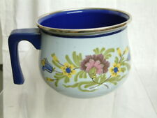 60iger oder 70iger Jahre Milch Wasser Topf Emaille Blumen