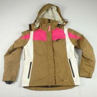 REHALL Ski Jacket Size S Brown White Pink Womens Winter Hood Waterproof Coat
