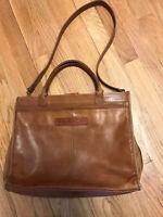 Fossil Tan Leather Cross-Body Messenger Bag Medium