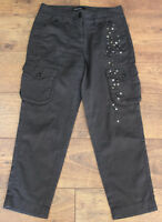MARC CAIN Ladies Grey Studded CARGO TROUSERS - Size N 2 - UK 10