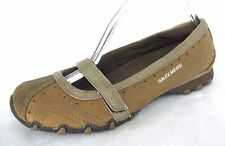 Skechers Bikers Shoes Sz 8.5 Brown Leather Mary Jane Ballet Flat Sneaker 46481