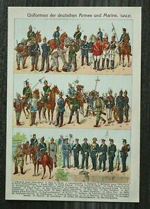 Litho Blatt Uniformen Deutsche Armee u Marine 1903-10 Jäger Ulan Feldgendarm +++