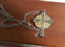 GORHAM STERLING Necklace & Earrings Cross w/ Footprints in Sand Verse on Back