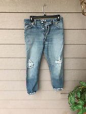 AMAZING~Re/Done Levis Jeans High Rise Button Fly Ripped Knees Straight SZ 26