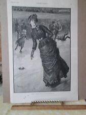 Vintage Print,BELLE ON ROLLERS,Harpers,Feb 1885