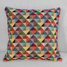 "Multicoloured Harlequin Geometric Triangles Tapestry Cushion. 17x17"" Square."