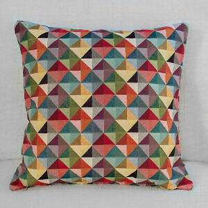 "Multicoloured Harlequin Geometric Triangles Tapestry Cushion. 17x17"" Square."