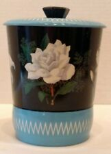 TIN TEA CANISTER/CONTAINER WHITE Flowers BLACK Background TOURQUOISE Zigzag LID