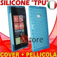 Cubierta De La Caja Para Nokia Lumia 900 Azul Gel De Silicona TPU