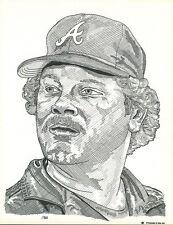 8x10 O'Connell Ink Print Bob Horner (Atlanta Braves) Head Shot