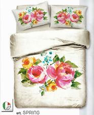 Set Copripiumino Lenzuola Matrimoniale Spring Beige Raso di Cotone Rose Floreale