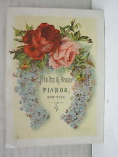 Stultz & Bauer Grand and Upright Pianos, Oneonta, New York Trade Card