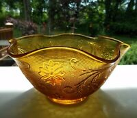"Tiara Indiana Glass Amber Sandwich Crimped 10 1/4"" Salad Serving Bowl"