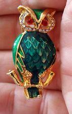 Vintage Rhinestone Diamante & Enamel Gold Plated Owl Brooch Green