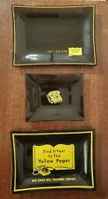 Set of 3 YELLOW PAGES Glass Dishes/Trays  NJ BELL TELEPHONE COMPANY DIAL PHONE
