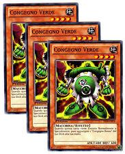 set 3X CONGEGNO VERDE Green Gadget SDGR YSYR Comune in Italiano YUGIOH