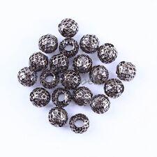 10x Bulk Gun Black Net Beads Big Hole Fit European Bracelet Cool Jewelry Finding