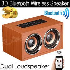 Wireless Bluetooth Speaker Super Bass 3D Surround Stereo Wooden Dual Loudspeaker