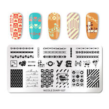 Nail Art Stamping Plate Image Decoration Valentines Day Love Hearts Lace (ND27)