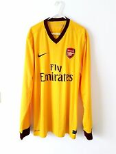 Arsenal Away Camiseta 2010. grande. Nike. Amarillo Adultos L mangas largas Top de fútbol.