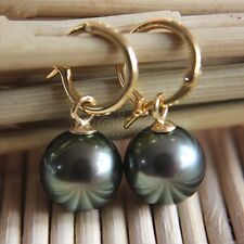 Sea Shell Pearl Earring Natural 14mm Tahitian Black South