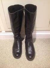 "Clarks UK 7.5 Black Leather Calf Length Boots with Buckle detail 1"" Heel"