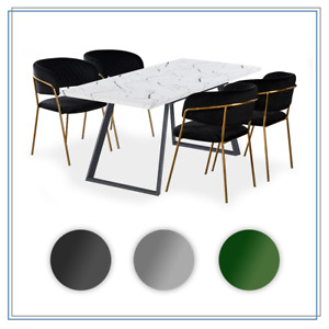 Toga & Atarah Dining Set   Extending Dining Table   LUX Velvet Chairs   4 CHAIRS