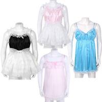 Sissy Men's Lingerie Nightwear Crossdress Ruffled Lace Tulle Dress Satin Pajamas