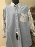 Ralph Lauren Mens Long Sleeve Oxford Striped Fun Shirt Blue White Size XL XLarge